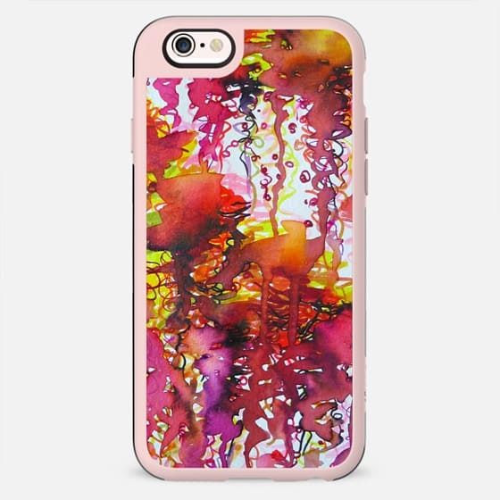 THE PERFECT STORM - Bold Crimson Red Cherry Burgundy Lime Colorful Abstract Watercolor Sky Clouds Rainy Day Raining Stormy Weather Painting - New Standard Case