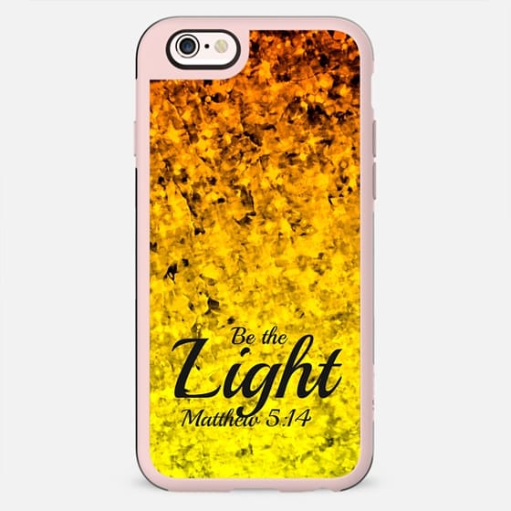 BE THE LIGHT Christian Fine Art Orange Yellow Abstract Painting Ombre Faith God Jesus Christ Scripture Bible Verse Colorful Sparkle Glam Design - New Standard Case