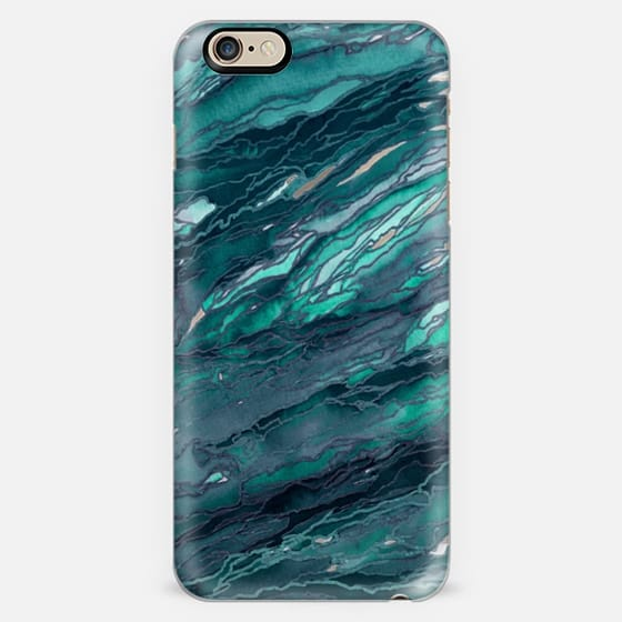 AGATE MAGIC, DARK TEAL BLUE Marble Glam Watercolor Painting Colorful Abstract Art Geode Marbled Aqua Turquoise Navy Metallic Accents Glamorous Modern Trendy Girly Chic Lovely Design