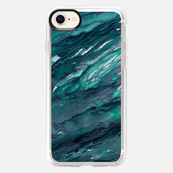 AGATE MAGIC, DARK TEAL BLUE Marble Glam Watercolor Painting Colorful Abstract Art Geode Marbled Aqua Turquoise Navy Metallic Accents Glamorous Modern Trendy Girly Chic Lovely Design - Snap Case