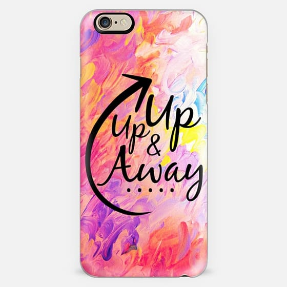 UP UP AND AWAY 2 - Colorful Pink Clouds Summer Fun Vacation Getaway Airplane Travel Abstract Girly Painting Fine Art Typography Arrow Whimsical Design -