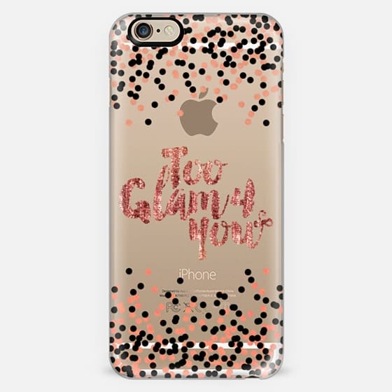 TOO GLAM 4 YOU Rose Gold Blush Pink Black Color Glamorous Chic Polka Dots Typography Style Fashion Feminine Transparent Modern Sparkle Girly Pattern Ebi Emporium Lovely Spots Art -
