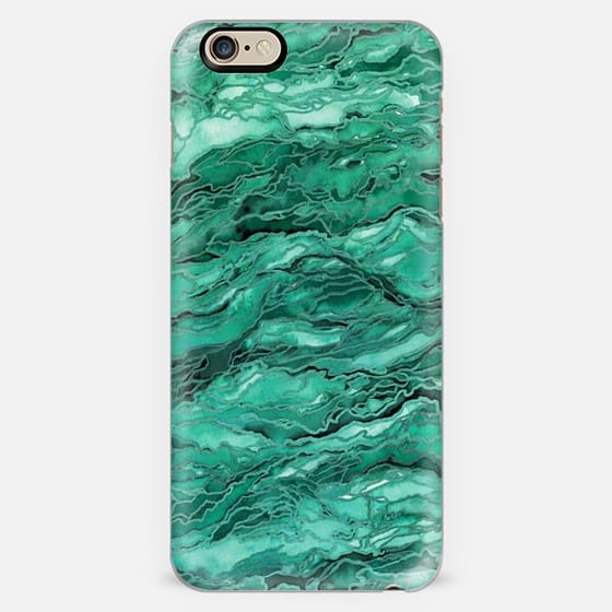 MARBLE IDEA! - EMERALD JADE GREEN, Colorful Abstract Art Watercolor Painting Metallic Accents Chic Geological Stone Agate Geode Malachite Rock Pattern Modern Trendy Style Design Monochrome -