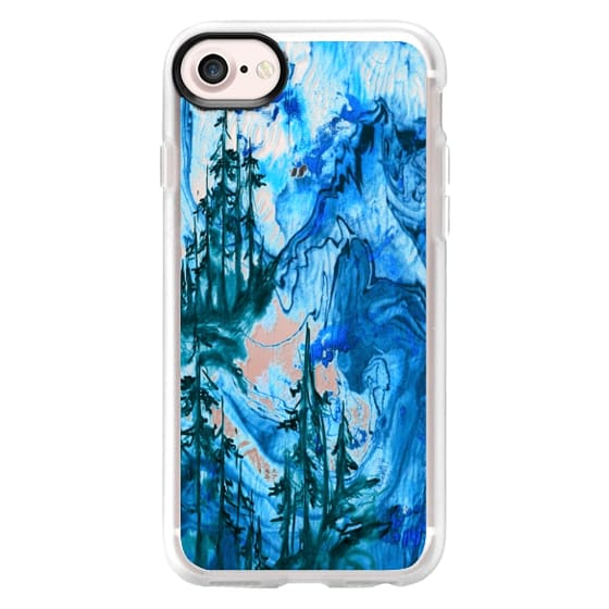 IF A TREE FALLS, BLUE Bold Colorful Forest Abstract Watercolor Painting Nature Wanderlust Outdoors Mountains Ebi Emporium