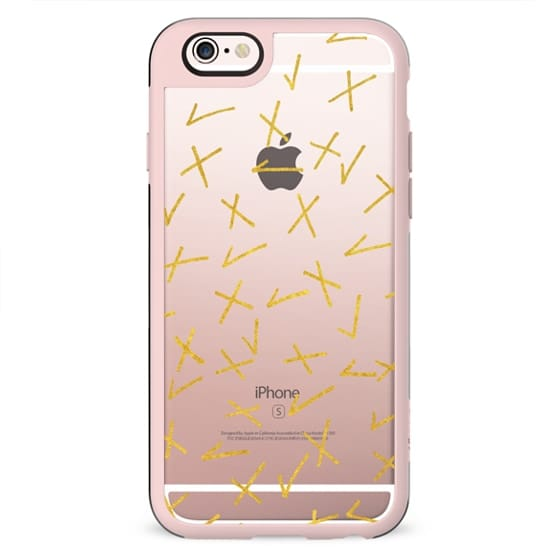 GO ON, GRADE ME! Faux Gold Metallic Shimmer XOXO High School College Marks Essay Checkmarks Transparent Minimalist Chic Yes No Good Bad Pattern