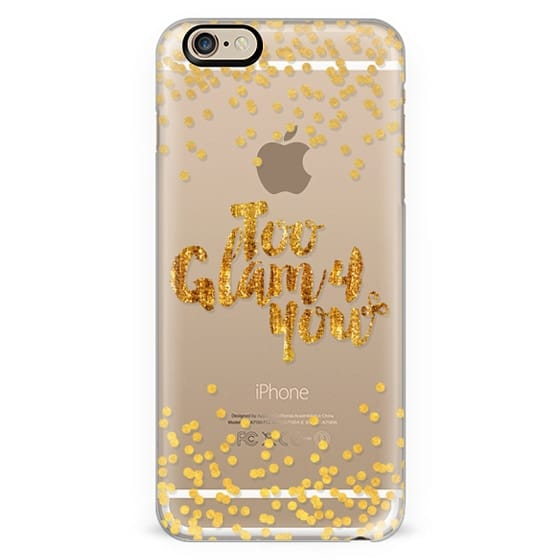 TOO GLAM 4 YOU Shimmer Yellow Gold Color Sparkle Glamorous Chic Polka Dots Typography Quote Style Fashion Feminine Transparent Modern Girly Pattern Ebi Emporium Lovely Spots Art