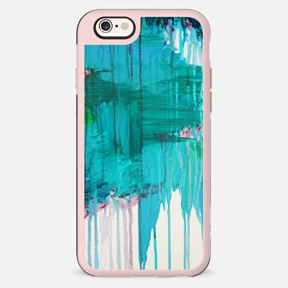 BLUE MONSOON - Bold Colorful Abstract Teal Royal Blue Kelly Green Rainy Day Storm Clouds Raining Drip Painting - New Standard Case