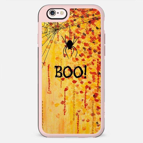 BOO! Spooky Cool Spider Halloween Typography Creepy Festive Trick or Treat Orange Black Spiderweb All Hallow's Eve Bold Fine Art Painting Design
