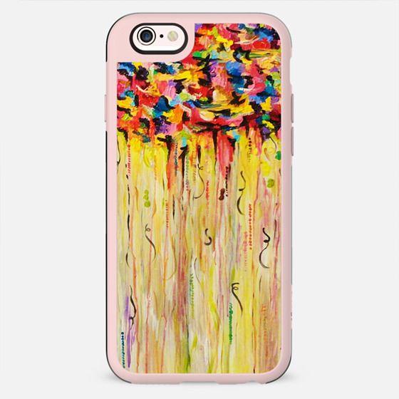 RAINING RAINBOWS - Bold Cheerful Rainy Day Colorful Happy Rain Storm Sky Clouds Drip Swirls Vibrant Abstract Painting