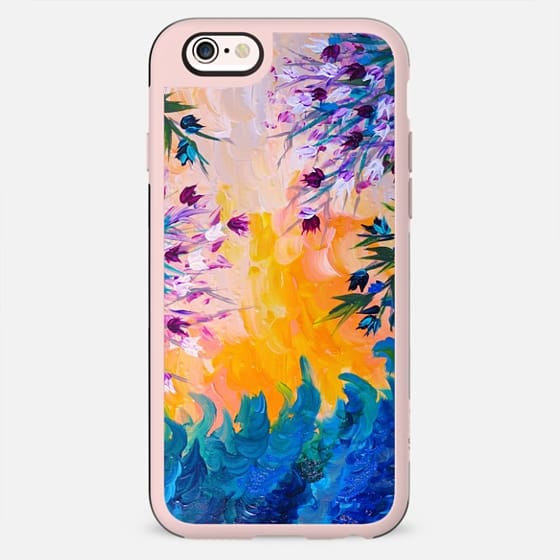 WHATEVER MAY COME - Pretty Purple Blue Yellow Orange Pink Abstract Floral Nature Flowers ocean Waves Splash Swirls Bold Colorful Painting - Classic Snap Case