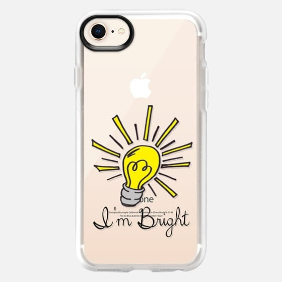 I'M BRIGHT - Playful Lightbulb Smart Intellectual Witty Typography Font Quote Transparent Back to School Whimsical Cute Modern High School College Genius - Snap Case