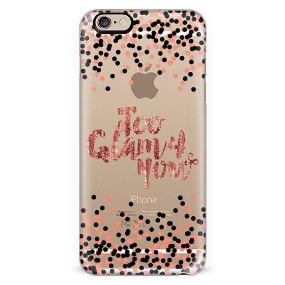 TOO GLAM 4 YOU Rose Gold Blush Pink Black Color Glamorous Chic Polka Dots Typography Style Fashion Feminine Transparent Modern Sparkle Girly Pattern Ebi Emporium Lovely Spots Art