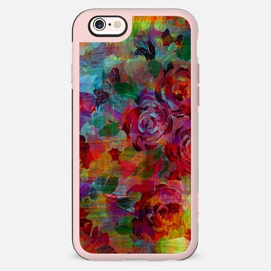 THROUGH ROSE-COLORED GLASSES - Bold Colorful Roses Abstract Layered Floral Garden Summer Flowers Rainbow Multicolor Shabby Chic Textural Fine Art Girly Modern Chic Design