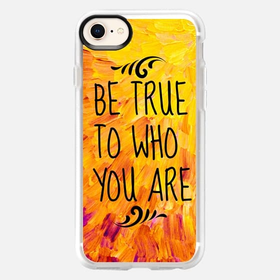 BE TRUE TO WHO YOU ARE - Bold Colorful Sunshine Yellow Orange Splash Ocean Waves Beach Feathers Happy Inspiration Typography Abstract Painting - Snap Case