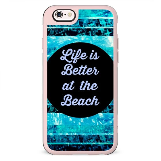 LIFE IS BETTER AT THE BEACH - Colorful Modern Cool Surfer Fun Summer Splash Ocean Waves Turquoise Aqua Blue Black Typography Adventure Quote Coastal Nautical Stripes