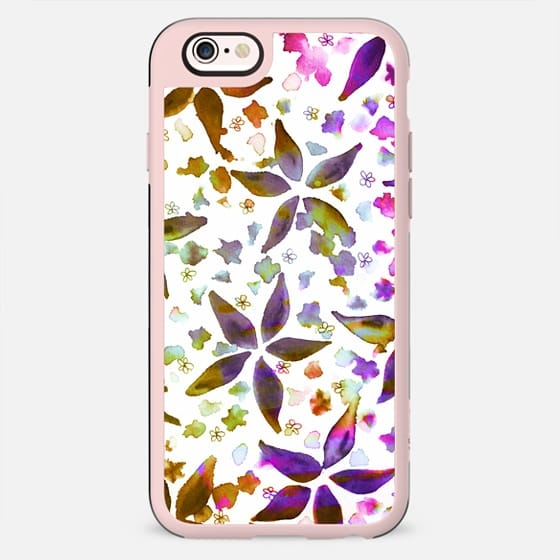 GARDEN MELODY Colorful Feminine Floral Watercolor Painting Pretty Girly Pink Burgundy Purple Brown Flowers Happy Pattern Fine Art Design - New Standard Case