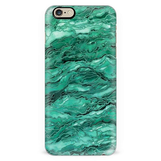 MARBLE IDEA! - EMERALD JADE GREEN, Colorful Abstract Art Watercolor Painting Metallic Accents Chic Geological Stone Agate Geode Malachite Rock Pattern Modern Trendy Style Design Monochrome