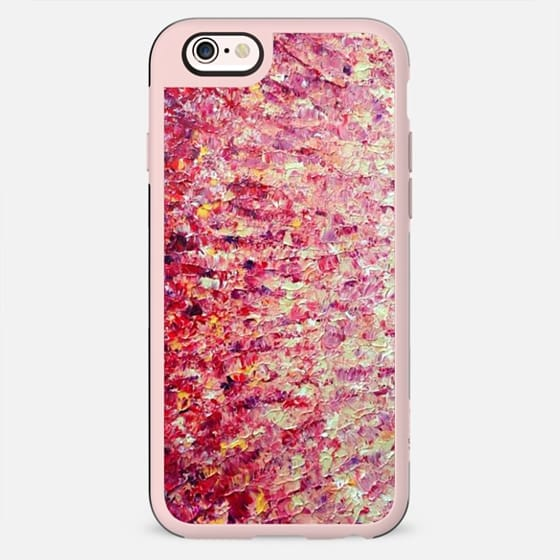SAILORS SUNRISE - PINK Red Cream Abstract Acrylic Painting Textural Ombre Impasto Fine Art Colorful Girly Chic Sky Clouds Sunset Whimical Feminine Modern Color Gradation Style - New Standard Case