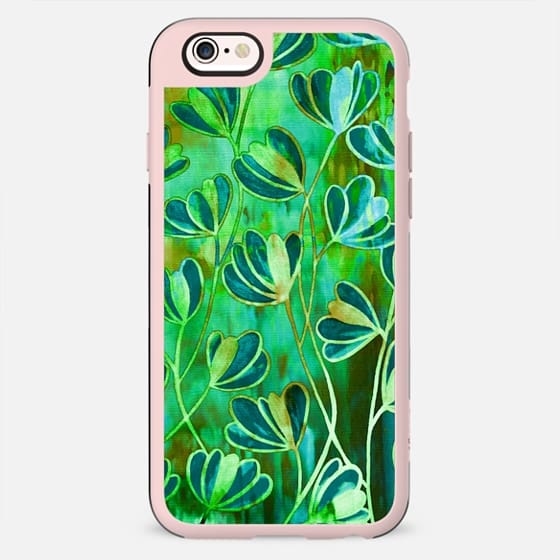 EFFLORESCENCE Blue Green Brown Floral Abstract Watercolor Fine Art Pattern Flowers Bright Colorful Nature Painting Fun - New Standard Case