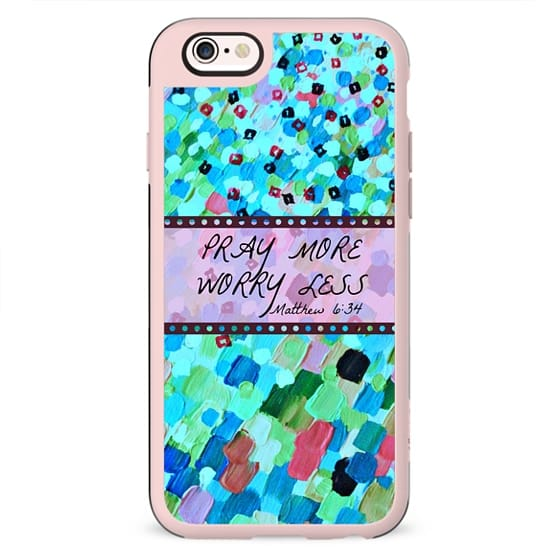 PRAY MORE, WORRY LESS - Matthew 6:34 Christian Fine Art Bible Verse Scripture Typography Whimsical Colorful Ocean Abstract Painting Turquoise Aqua Pink Mint Green Prayer Faith