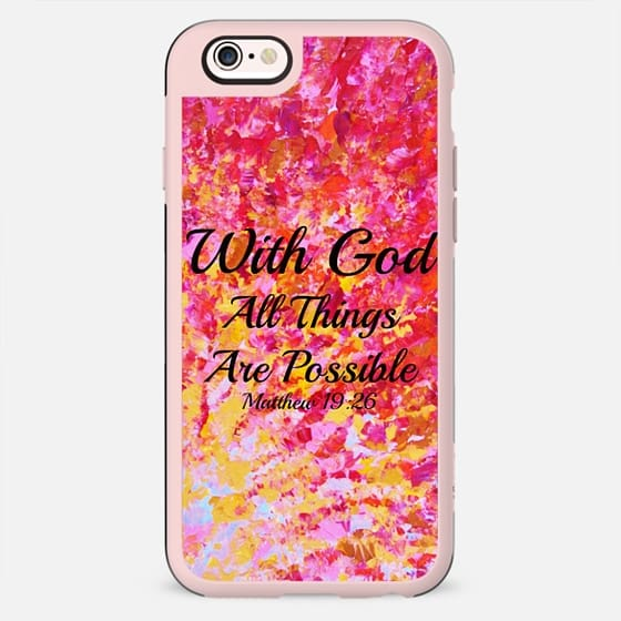 WITH GOD ALL THINGS ARE POSSIBLE - Matthew 19:26 Colorful Red Orange Yellow Pink Bold Ombre Splash Fine Art Painting Christian Bible Verse Scripture Typography Inspiration Faith - New Standard Case