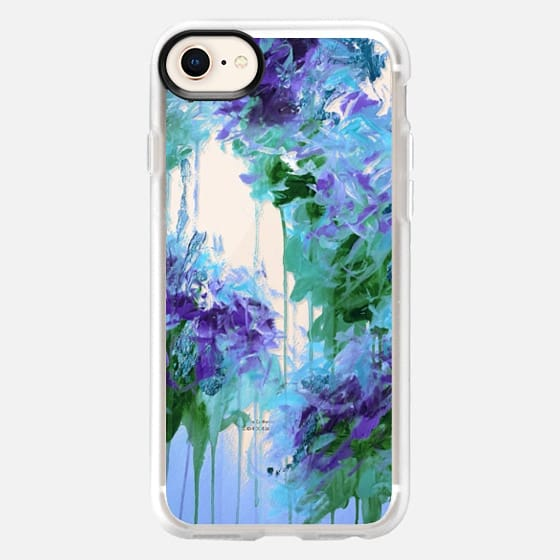 WHISPERED SONG 6 - Icy Winter Blue Purple Green Wedding Floral Bouquet Nature Flowers Bride Bridal Bridesmaid Elegant Chic Transparent Abstract Painting Swirls  - Snap Case