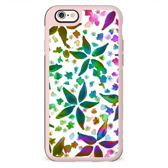 GARDEN MELODY 2 Colorful Bright Whimsical Floral Abstract Flowers Fine Art Watercolor Painting Pattern Girly Feminine Chic Design