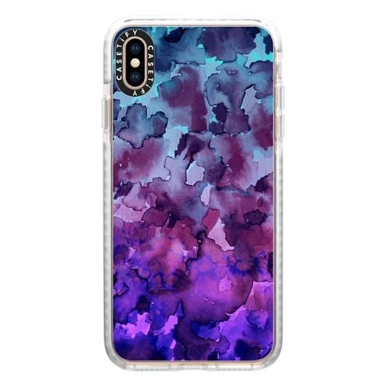 iPhone XS Max Cases - COLOR ME FLORAL 5 Bold Colorful Fine Art Watercolor Painting Ombre Modern Chic Design Abstract Flowers Blue Turquoise Lavender Purple Elegant Girly Pattern