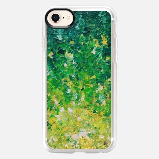 LAKE GRASS - Colorful Grass Kelly Green Citron Lemon Yellow Seaweed Ocean Waves Splash Abstract Ombre Nature Painting - Snap Case