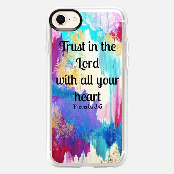 TRUST IN THE LORD WITH ALL YOUR HEART - Proverbs 3:5 Christian Fine Art Typography Bible Verse Scripture Colorful Chic Girly Pastel Pink Turquoise Aqua White Ikat Abstract Painting - Snap Case