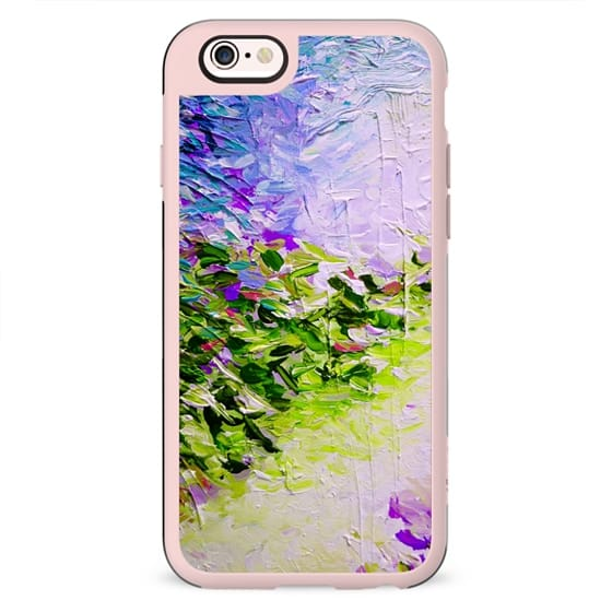 PARADISE DREAMING Cool Oasis Colorful Abstract Painting Whimsical Brushstrokes Feminine Perwinkle Blue Purple Green Girly Tropical Fine Art Design