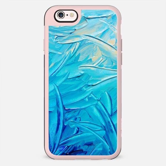 WATER FLOWERS -  Bright Bold Abstract Ocean Beach Waves Water Swirls Floral Swirls Neon Turquoise Blue Aqua Cerulean Colorful Painting - New Standard Case