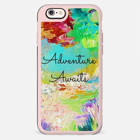 ADVENTURE AWAITS - Wanderlust Colorful Forest Floral Trees Typography Explore Wild Hipster Summer Nature Rainbow Abstract Fine Art Painting - New Standard Case