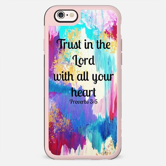 TRUST IN THE LORD WITH ALL YOUR HEART - Proverbs 3:5 Christian Fine Art Typography Bible Verse Scripture Colorful Chic Girly Pastel Pink Turquoise Aqua White Ikat Abstract Painting - New Standard Case