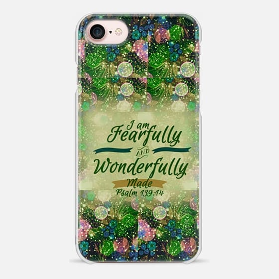 I AM FEARFULLY AND WONDERFULLY MADE 5 - Psalm 139:14 Whimsical Fine Art Colorful Floral Pattern Blue Green Teal Pink Christian Bible Verse Scripture Jesus Christ God Inspiration - Snap Case
