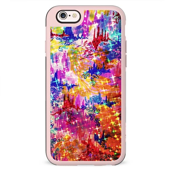 SKY RISERS 1 - Colorful Stars Abstract High Rise Buildings Castles Clouds Whimsical Fantasy Rainbow Bold Galaxy Cosmic Watercolor Painting
