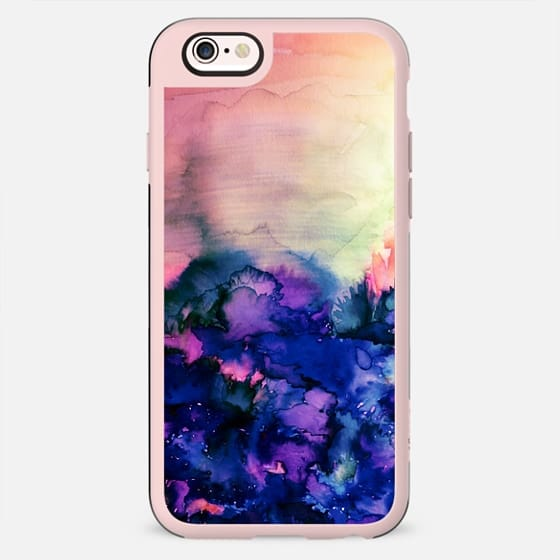 INTO ETERNITY in PINK AND INDIGO BLUE - Colorful Feminine Pretty Abstract Watercolor Floral Field Nature Flowers Girlie Sweet Painting