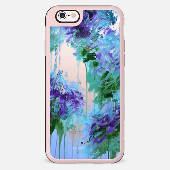 WHISPERED SONG 6 - Icy Winter Blue Purple Green Wedding Floral Bouquet Nature Flowers Bride Bridal Bridesmaid Elegant Chic Transparent Abstract Painting Swirls
