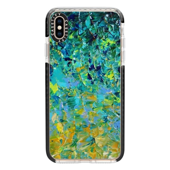 iPhone XS Max Cases - BEAUTY BENEATH THE SURFACE - Bold Deep Emerald Jade Green Ochre Yellow Turquoise Blue Ocean Waves Ombre Textural Abstract Painting