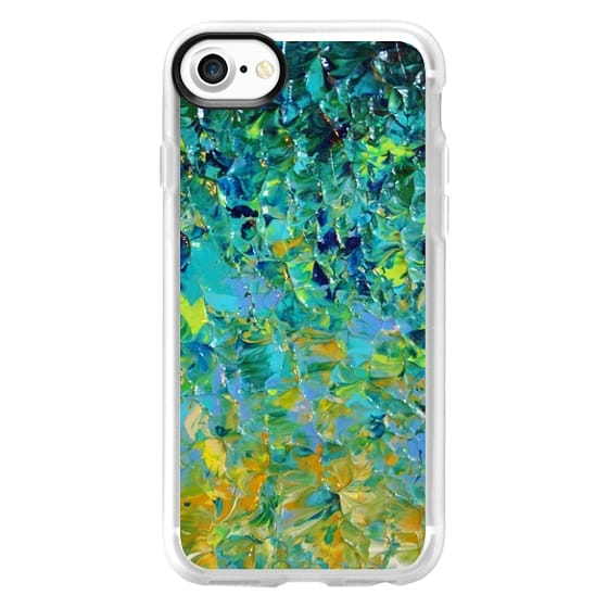 iPhone 7 Cases - BEAUTY BENEATH THE SURFACE - Bold Deep Emerald Jade Green Ochre Yellow Turquoise Blue Ocean Waves Ombre Textural Abstract Painting
