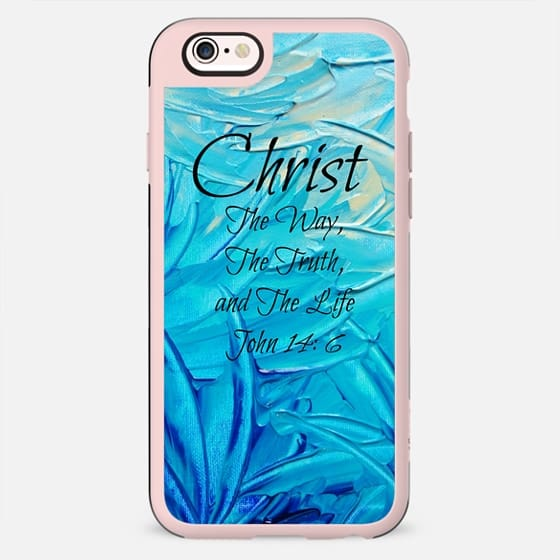 CHRIST TRUTH WAY LIFE Colorful Fine Art Christian Typography Bible Verse Jesus God Scripture Faith Turquoise Blue Ombre Swirls Abstract Painting