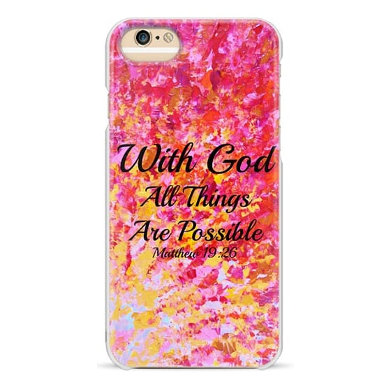 Wood iPhone 6 Case - WITH GOD ALL THINGS ARE POSSIBLE - Matthew 19:26  Colorful Red Orange Yellow Pink Bold Ombre Splash Fine Art Painting  Christian