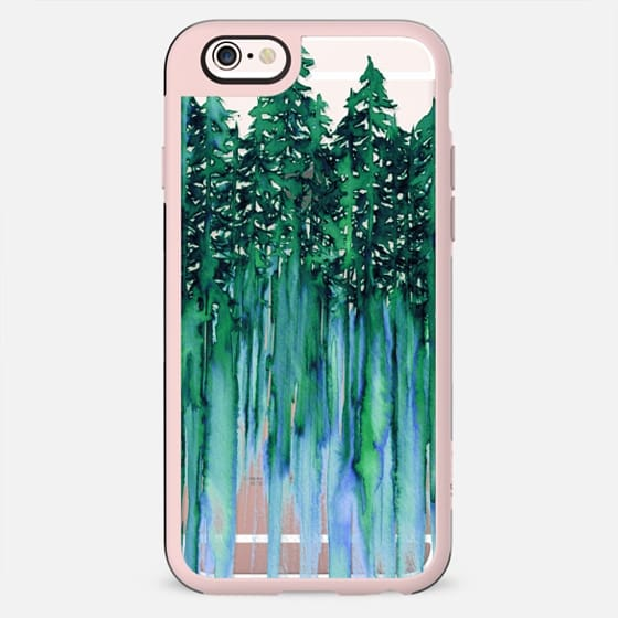 THROUGH THE TREES, BOLD GREEN AQUA Colorful Forest Nature Wanderlust Boho Outdoors Mountains Watercolor Painting Clear Transparent Ebi Emporium - New Standard Case