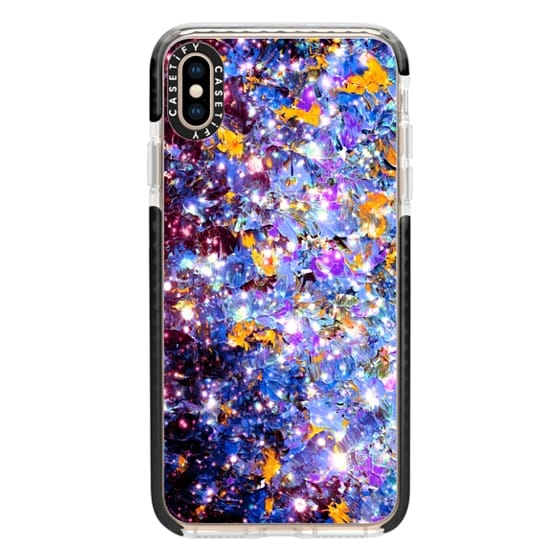 iPhone XS Max Cases - WRAPPED IN STARLIGHT - MIDNIGHT SERENADE Colorful Fine Art Ombre Abstract Acrylic Painting Textural Perwinkle Royal Blue Purple Yellow Galaxy