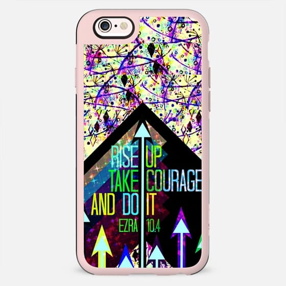 RISE UP TAKE COURAGE AND DO IT Ezra 10:4 Bible Verse Scripture Christian Fine Art Whimsical Modern Jesus Christ Faith Geometric Floral Arrows Abstract Painting Inspiration - New Standard Case