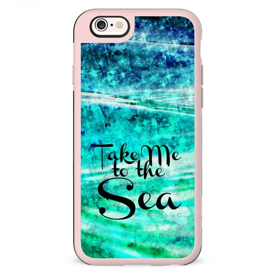 TAKE ME TO THE SEA - Typography Teal Turquoise Blue Green Underwater Adventure Ocean Waves Bubbles Beach Adventure Abstract Painting