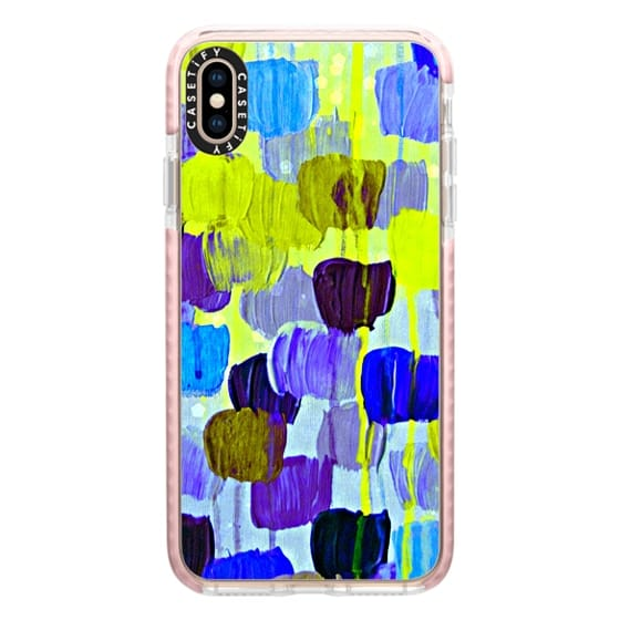 iPhone XS Max Cases - DOTTY IN PERIWINKLE - Colorful Polka Dots Spots Abstract Whimsical Soft Placid Royal Blue Lavender Purple Bokeh Feminine Drip Acrylic Painting