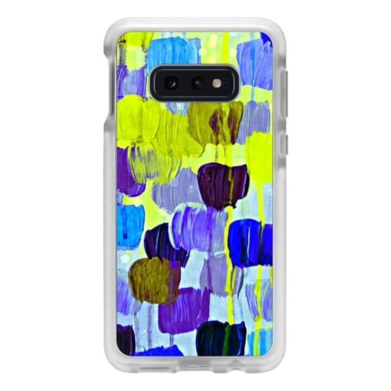 Samsung Galaxy S10e Cases - DOTTY IN PERIWINKLE - Colorful Polka Dots Spots Abstract Whimsical Soft Placid Royal Blue Lavender Purple Bokeh Feminine Drip Acrylic Painting
