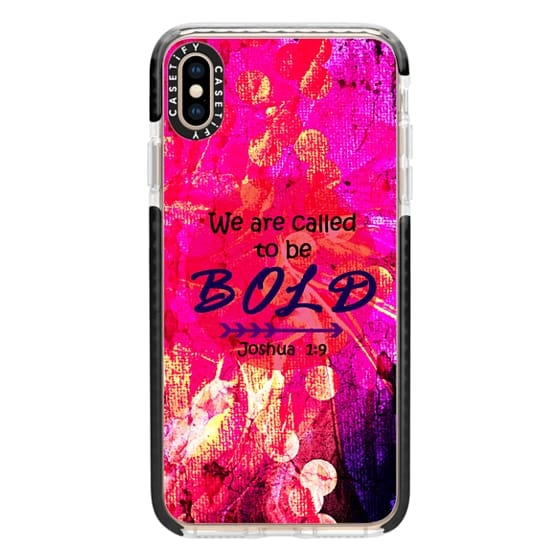 iPhone XS Max Cases - WE ARE CALLED TO BE BOLD Joshua 1:9 Fine Art Colorful Christian Scripture Bible Verse Whimsical God Girl Hot Pink Purple Floral Swirls Typography Jesus Christ Faith Inspiration