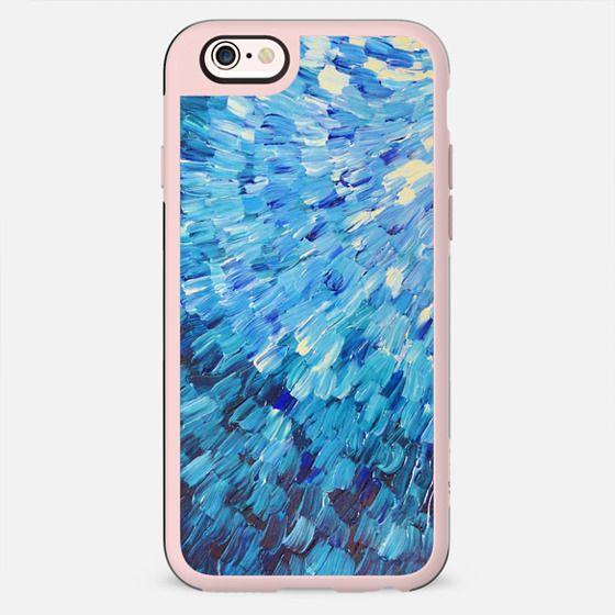 Sea Scales in Indigo - Deep Blue Ocean Waves Splash Abstract Painting - New Standard Case